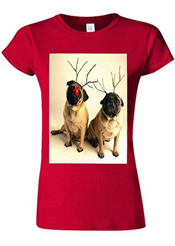 有効化アフリカ人ほのめかすPug Christmas Santa Funny Novelty Cherry Red Women T Shirt Top-S