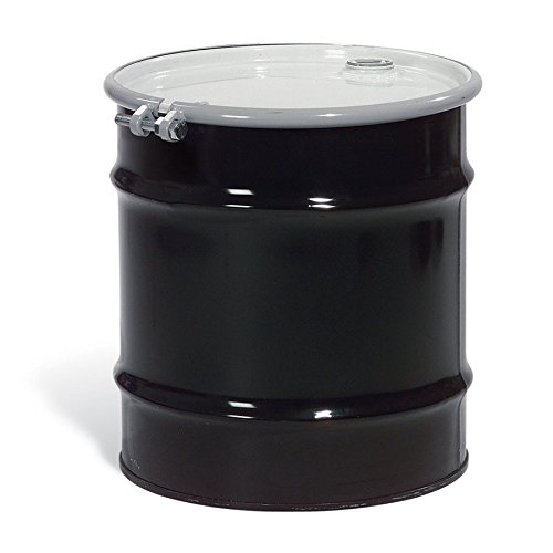 New Pig DRM970 Open-Head UN Rated Unlined Steel Drum with Bungs, 20 Gallon Storage Capacity, 19'' Diameter x 21-3/4'' Height, Black/White