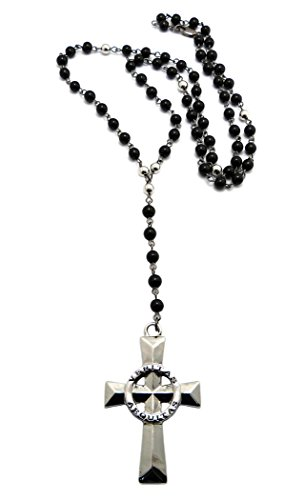 Truth & Justice Solid Veritas Aequitas Cross Pendant 6mm Glass Bead Rosary Necklace in Silver-Tone (Rosary Solid Cross)