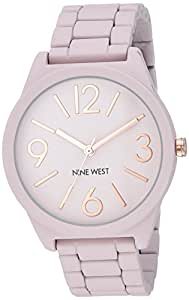 Nine West Women's NW/2014PKRG Matte Blush Pink Rubberized Bracelet Watch