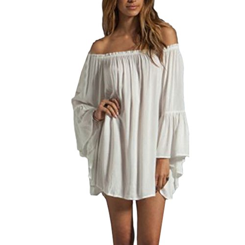 Zhhlinyuan Casual Ropa Popular Womens Off Shoulder Loose Leaf Sleeves Chiffon Dress Strapless Dresses 4 Color White