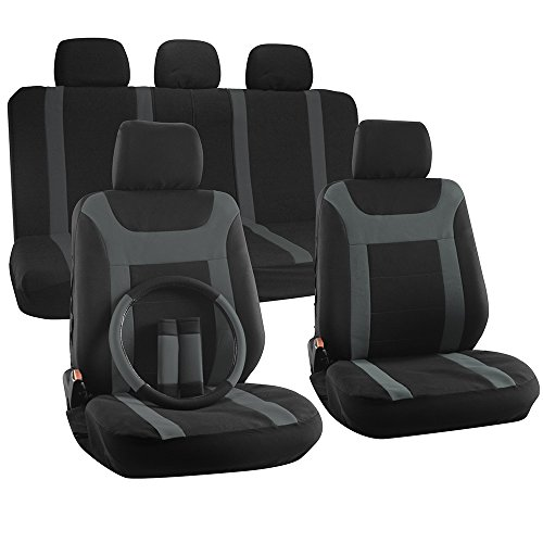 OxGord Flat Cloth Mesh Y Stripe Universal Seat Covers Set, Gray / Black (17-Items) (07 Jeep Wrangler Seat Covers compare prices)