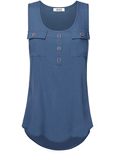 MISSISH Women's Sleeveless Solid Woven Scoop Neck Tunic Tank Top SMALL INSIGNIA (Multi Colored Sleeveless Top)