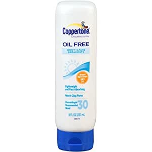 Coppertone Oil Free Sunscreen Lotion, SPF 30, 8-ounce