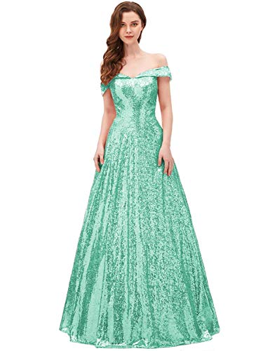 Sexy Mermaid Long Sequin Evening Party Dresses for Women Off Shoulder Prom Gown SHPD41 Turquoise Without Beads Size 10