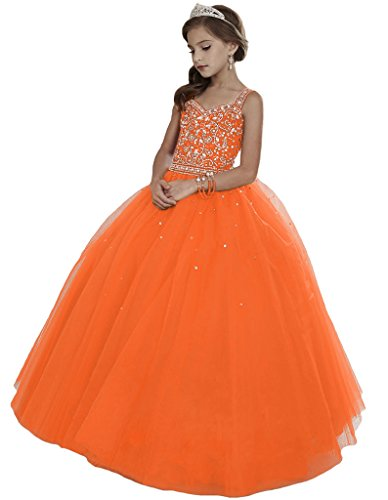 HuaMei Girls Princess Tulle Beaded Straps Ball Gowns Flower Girl Pageant Dresses 10 US Orange