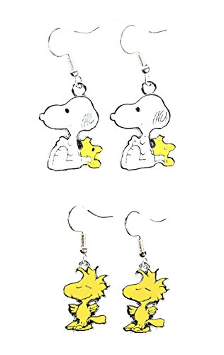 339d2bc71 2 Pairs of Peanuts Inspired Snoopy Buddy & Woodstock Character Charm Metal  Drop Dangle Hook Earrings