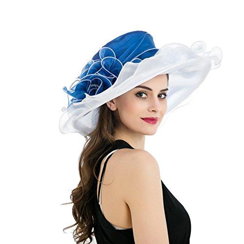 Dantiya Women's Kentucky Derby Church Summer Organza Wide Brim Party Wedding Hat (Blue and White) (Spring Church Hats)