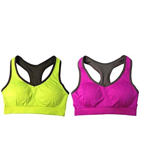 Ancdream Sujetador Deportivo sin Costura para Mujer (Estilo Racerback). Para Yoga, Estiramiento, Running Morado & Verde