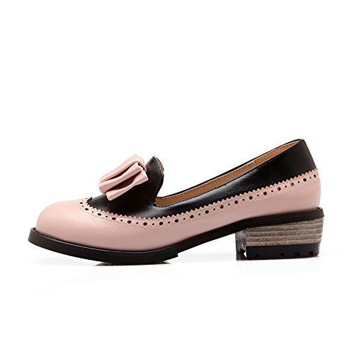 d0e53d828d2 Latasa Mujeres Fashion Bow Low Chunky Heel Slip On Casual Mocasines Zapatos  Rosa ...