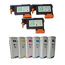 Ouguan InkCompatible Hp 72 Ink Cartridges 6 Packs & 72 Printhead for Hp Designjet T1100 T790 T770 T610 T620 T1200 T1120 T2300 (1 Cyan/magenta, 1 Black/yellow, 1 Photo Black/gray)
