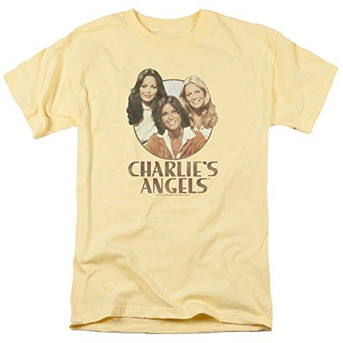 Charlies Angels Retro Girls Mens Short Sleeve Shirt (Banana, Medium)