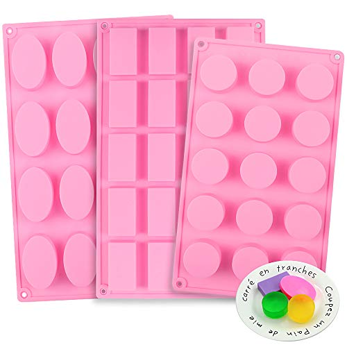 YGEOMER 3pcs Silicone Soap Molds, Round Rectangle Oval Soap Molds for Handmade Soap Candy Chocolate Cake with Sealed Bags, Pink