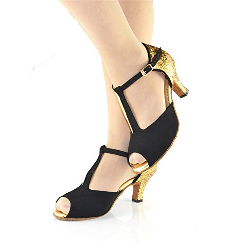 7 5cm Suede Black Tacón QXH Femenino Fondo Latin Baile de Banquete Suave Zapato Alto OYwS4q7F