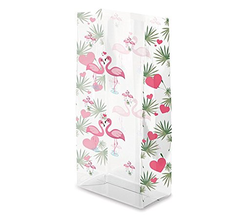 Flamingo kisses printed cello bag. 7'' H X 3'' W X 2'' D 100 pk by TEMKIN INTERNATIONAL