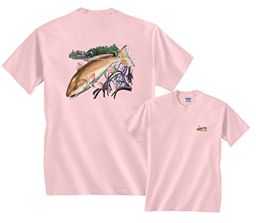 Redfish Candy (Fair Game Redfish with Boat T-Shirt-Light Pink-Youth Small)