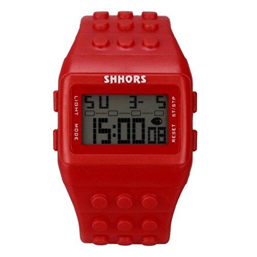Rosiest Unisex Colorful Digital Wrist Watch Life Waterproof Fashion (Red)