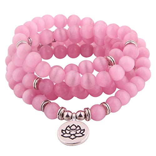 GVUSMIL 8mm Mala Amazonite 108 Beads Necklace for Yoga Buddhist Rosary Prayer Charm Bracelet Made by Natural Gemstone Agate Jade for Women Men (Pink Cat Eye)