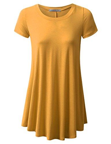URBANCLEO Womens Round Neck Elong Tunic Top Mini T-Shirt Dress Mustard - Henley Mini T-shirt