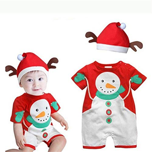 Baby Girl 2-Piece Santa Snowman Bodysuit and Hat