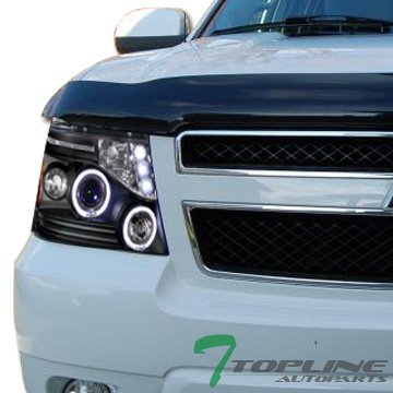 Hybrid Chevrolet Tahoe (Topline Autopart Black Housing Halo LED Projector Headlights Signal Amber Reflector JY For 07-13 Chevy Avalanche/Suburban / Tahoe ; 08-13 Tahoe Hybrid)