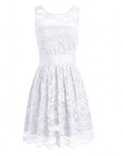 Dresses A Dress Lace Botong Sheer Line White Bridesmaid Neck Scoop Homecoming Party wBdAIvqxA