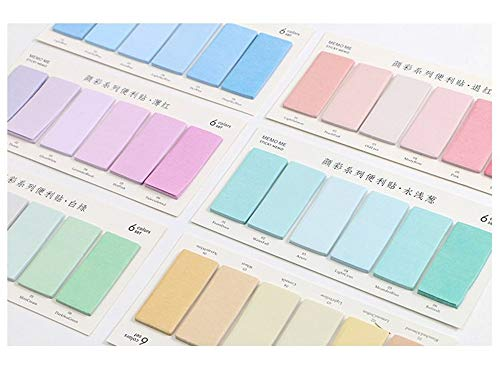 Max Corner Water Color Sticky Note, Page Flag Self Adhesive, Pastel Memo Pad Marker 6 Plate/Set for Student Women Office ()