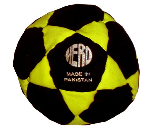 Hero 32-Panel Hacky Sack/Footbag with Tips & Game Instructions (Neon Yellow) (Best Hacky Sack For Beginners)