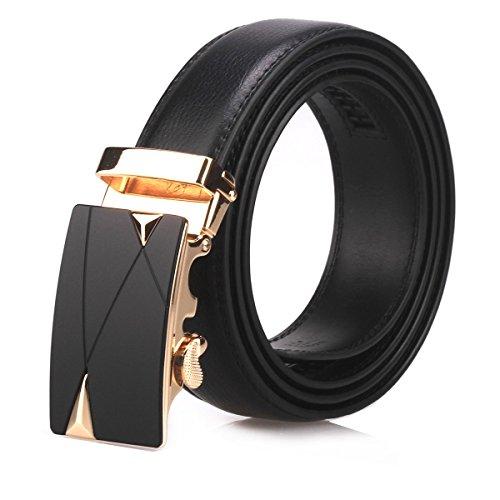 Designer Belt Buckle (Men's Automatic Buckle Leather Genuine Leather Belts-Black/Brown(J13/14/15) (M,)