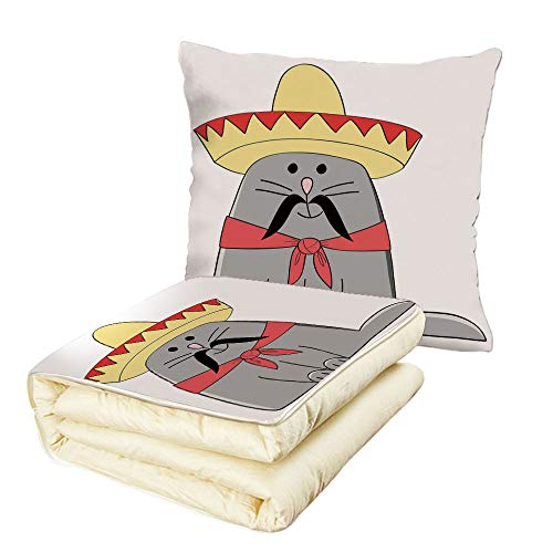 iPrint Quilt Dual-Use Pillow Cat Modern Illustration of Latino Kitten with Mexican Hat and Moustache Artsy Mascot Multifunctional Air-Conditioning Quilt Grey White Red by iPrint
