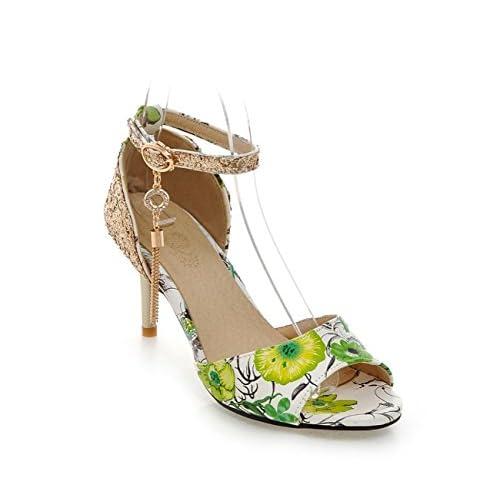 SHINIK Femmes Chaussures Synthétique Microfibre PU Été Automne Confort Nouveauté Sandales Talon Stiletto Peep Toe Boucle Pour Noce et Soirée Noir