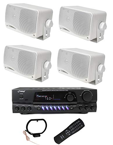 4) PYLE PLMR24 200W Outdoor Speakers + PT260A 200W Stereo Theater Receiver