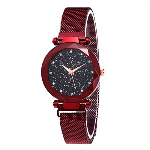 (Starry Sky Rhinestone Analogue Quartz Watches with Magnetic Band Diamond Cutting Sandstone Dial Lady)