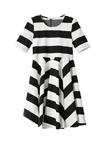 PU&PU Robe Aux femmes Ample Simple,Rayé Col Arrondi Au dessus du genou Polyester , black-one-size , black-one-size