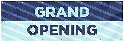Stripes Blue Heavy-Duty Outdoor Vinyl Banner CGSignLab 12x4 Grand Opening