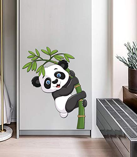 Bikri Kendra - Panda 12 x 12 inch - Wall Sticker, PVC Vinyl - for Bedroom Living Room Kids Room