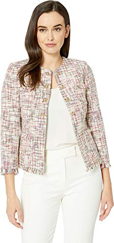 - Tahari by ASL Women's Boucle Tweed Open Jacket with Gold Button Cream/Magenta 8
