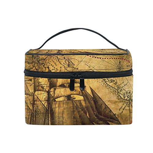 All agree Toiletry Bag Antique Map Compass Pirate Womens Beauty Makeup Case Brush Cosmetic -