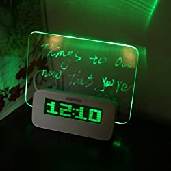 EverTrust(TM)Temperature Calendar Timer USB Hub Green Blue LED Desktop Director Table Clocks Digital Fluorescent Message Board Clock Alarm,Green