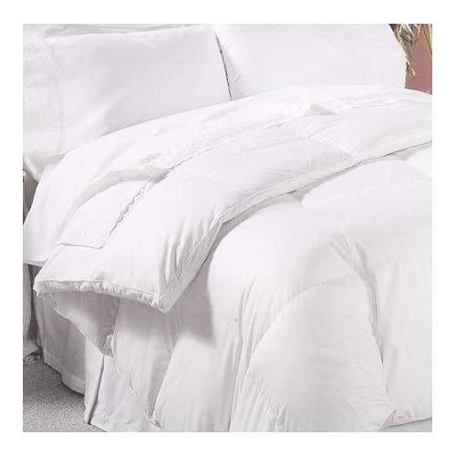 Image of 1200 Thread Count 100% Egyptian Cotton Baffle Box All Year Goose Down Comforter, White, Queen, 750 FP, 50 oz Home and Kitchen