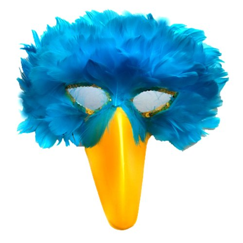 SACASUSA (TM) Turquoise Blue Feather Bird Mask with Yellow Beak]()