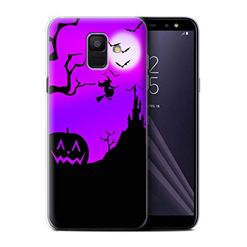 STUFF4 Phone Case/Cover for Samsung Galaxy A6 (2018) / Pumpkin/Witch Design/Halloween Scene Collection]()