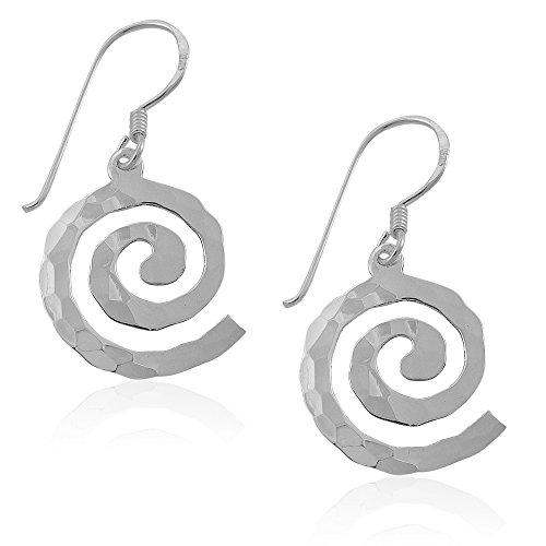 MIMI 925 Sterling Silver Hammered Open Celtic Swirl Dangle Hook Earrings ()
