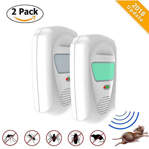 OKeanu 2018 Ultrasonic Pest Repeller Plug in, Electromagnetic Wave and Ultrasound pest Repellent Indoor Plug-in Repellent Insect Repeller for Insects, Mosquitoes, Mice, Spiders, Ants, Rats (2 Pack)