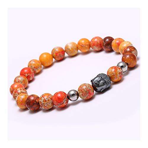 Necklace Ripka Judith Pave - MEleonfQQA 8Mm Nature Stone Black Beads Healing Balance Head Bracelet Bead Reiki Prayer Bijoux Bracelets orange M 190MM
