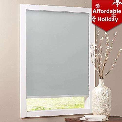 Keego Blackout Bathroom Roller Window Shades, Custom Made Oil Proof Waterproof an-ti UV Kitchen Blinds[Gray 100% Blackout,35″ W x 48″ H(Inch)]
