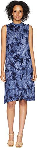 American Rose Women's Desiree Tie-Dye Mock Neck Dress Navy Large
