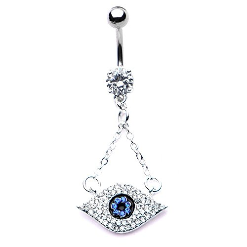 Pierced Owl CZ Crystal Blue Evil Eye Dangle Charm Belly Button Navel Ring in 316L Stainless Steel
