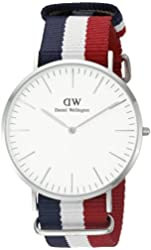 Daniel Wellington Men's 0203DW Cambridge Stainless Steel Watch With Multi-Color Nylon Band