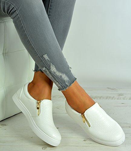 Cucu Fashion New Womens Ladies Slip On Snake Skin Zip Flat Heels Trainers Shoes Size UK 3-8 Z9k4K4R3